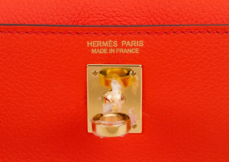 New in Box Hermes Kelly Danse Feu And Gold For Sale 3