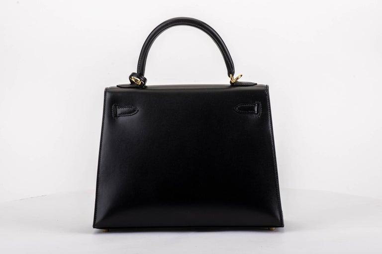 Black New in Box Hermes Kelly Sellier 25cm Box Gold Bag For Sale