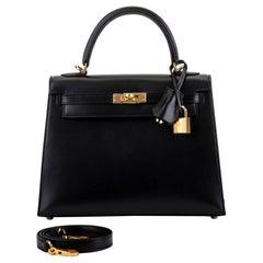 New in Box Hermes Kelly Sellier 25cm Box Gold Bag