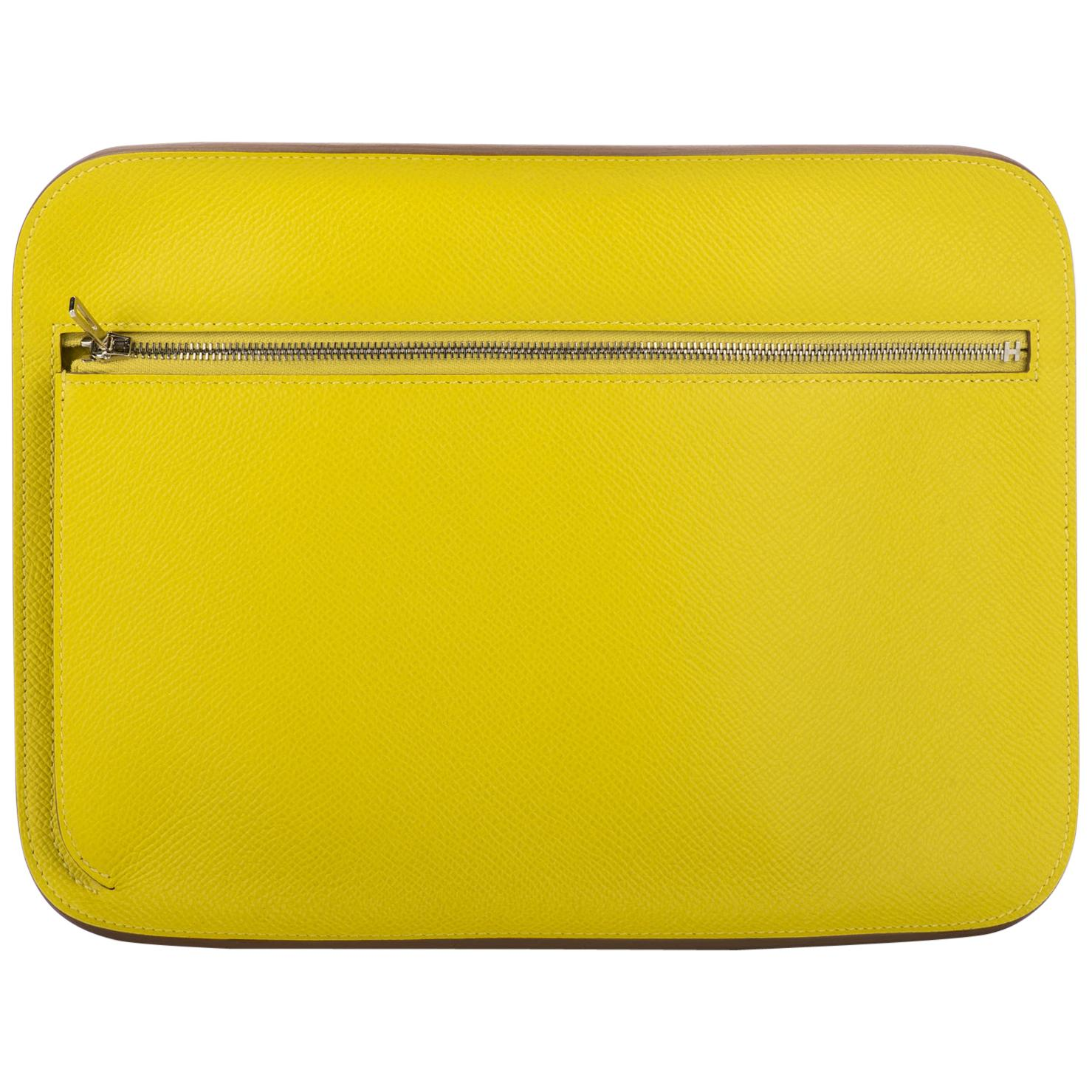 New in Box Hermès Lemon Yellow Epsom Clutch Bag