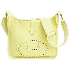 New in Box Hermès  Lime Yellow Evelyne PM Crossbody Bag