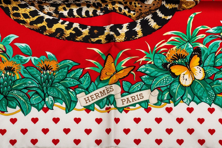 Beige New in Box Hermes Limited Edition  Jungle Love Hearts Dallet Scarf For Sale