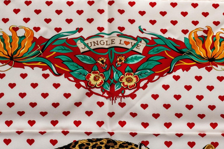 New in Box Hermes Limited Edition  Jungle Love Hearts Dallet Scarf In New Condition For Sale In West Hollywood, CA