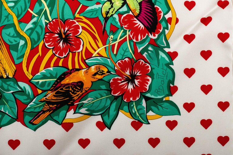 Women's New in Box Hermes Limited Edition  Jungle Love Hearts Dallet Scarf For Sale