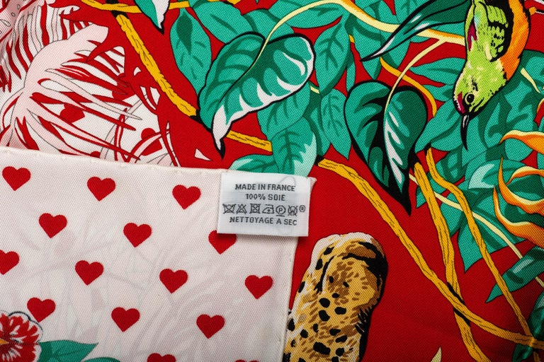 New in Box Hermes Limited Edition  Jungle Love Hearts Dallet Scarf For Sale 2