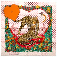 New in Box Hermes Limited Edition  Jungle Love Hearts Dallet Scarf