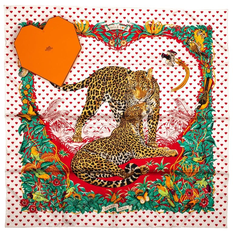 New in Box Hermes Limited Edition  Jungle Love Hearts Dallet Scarf For Sale