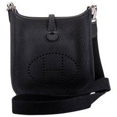 New in Box Hermes Mini Evelyne Black Palladium Crossbody Bag