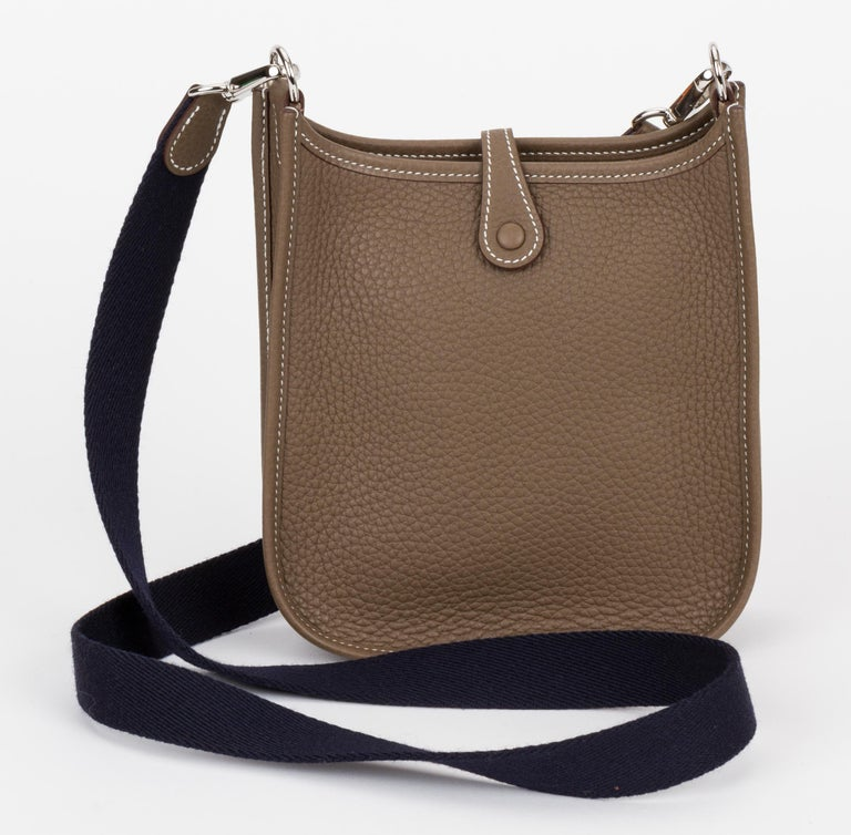 New in Box Hermes Mini Evelyne Etoupe Black Bag In New Condition For Sale In Los Angeles, CA