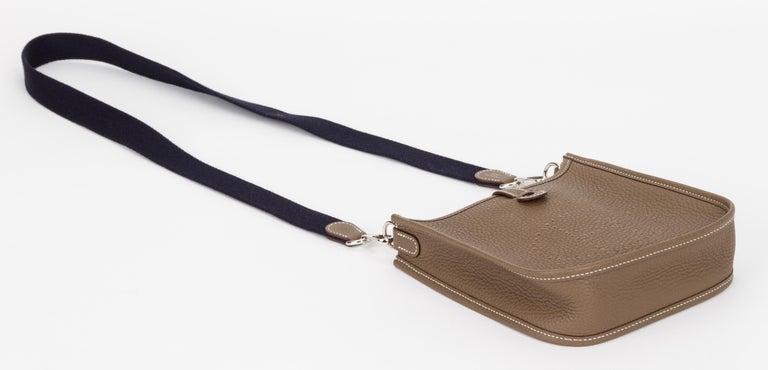 Women's New in Box Hermes Mini Evelyne Etoupe Black Bag For Sale