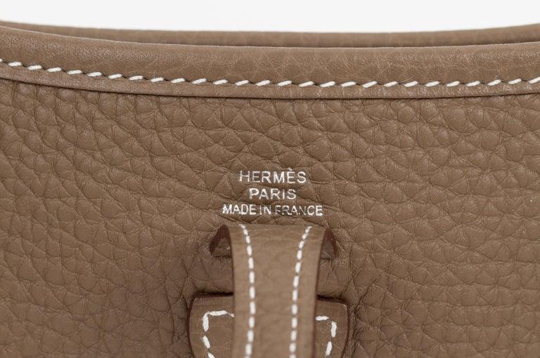 New in Box Hermes Mini Evelyne Etoupe Black Bag For Sale 1