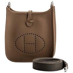 New in Box Hermes Mini Evelyne Etoupe Mud Bag