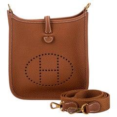 New in Box Hermes Mini Evelyne Gold Crossbody Bag with Gold Hardware