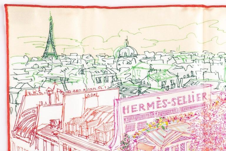 Beige New in Box Hermes Multi Le Jardin Silk Gavroche Scarf For Sale