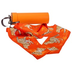 New in Box Hermes Orange Guepards Maxi Twilly Thin Scarf