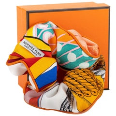 New in Box Hermes Orange Silk Hair Scrunchie