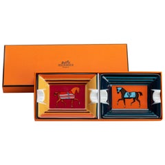 New in Box Hermes Pair Horse Small Ashtrays