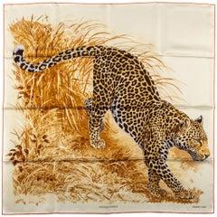 New in Box Hermes Panthera Silk Beige Scarf