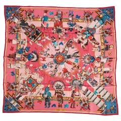 New in Box Hermès Pink Silk Twill Kachinas Scarf, Kermit Oliver