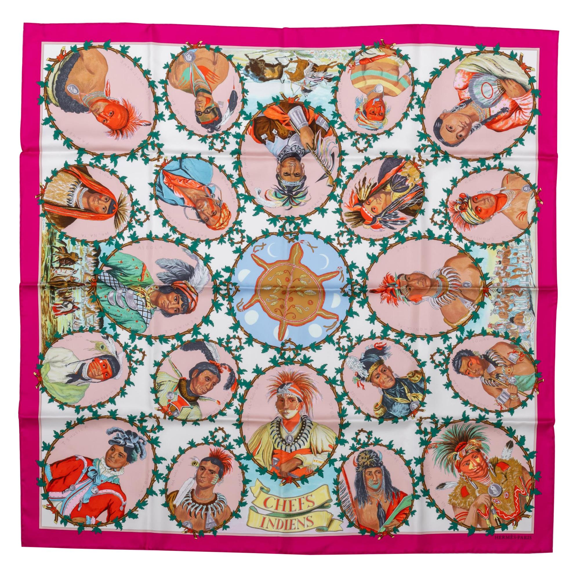 New in Box Hermès Rare Fuchsia Chefs Indiens Scarf