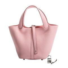 New in Box Hermes Rare Rose Sakura Picotin 18cm Bag