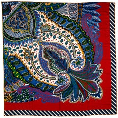 New in Box Hermes Red Flowers Cashmere Shawl
