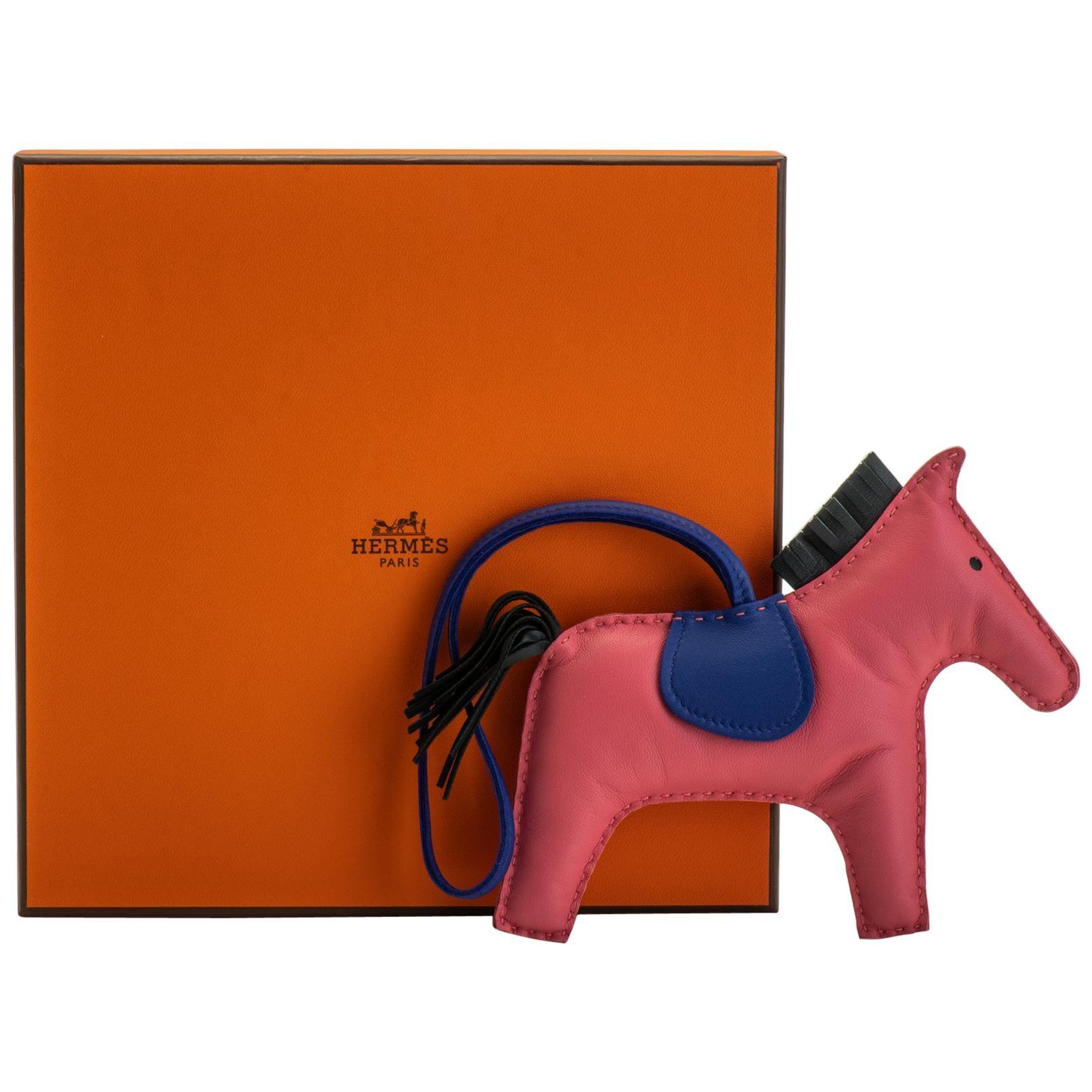 New in Box Hermes Rodeo PM Rose Azalee Bag Charm