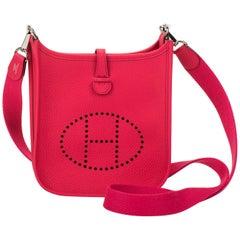New in Box Hermes Rose Extreme Mini Evelyne Bag