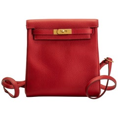 New in Box Hermes Rouge Casaque Kelly A Dos Bag