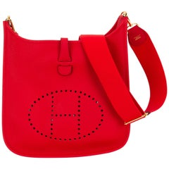 New in Box Hermès Rouge De Couer PM Evelyne Bag