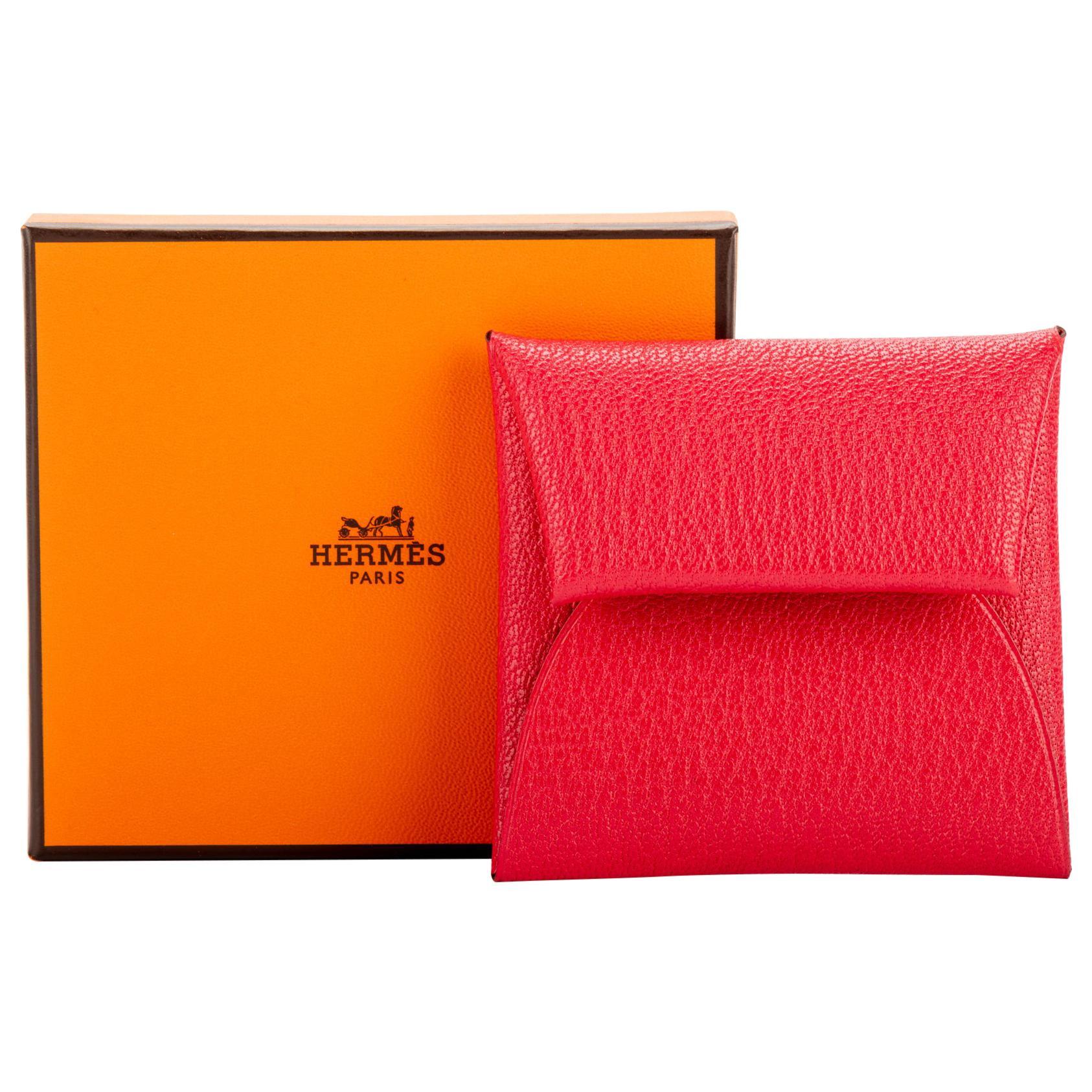 New in Box Hermès Rouge Pivoine Chevre Coin Case
