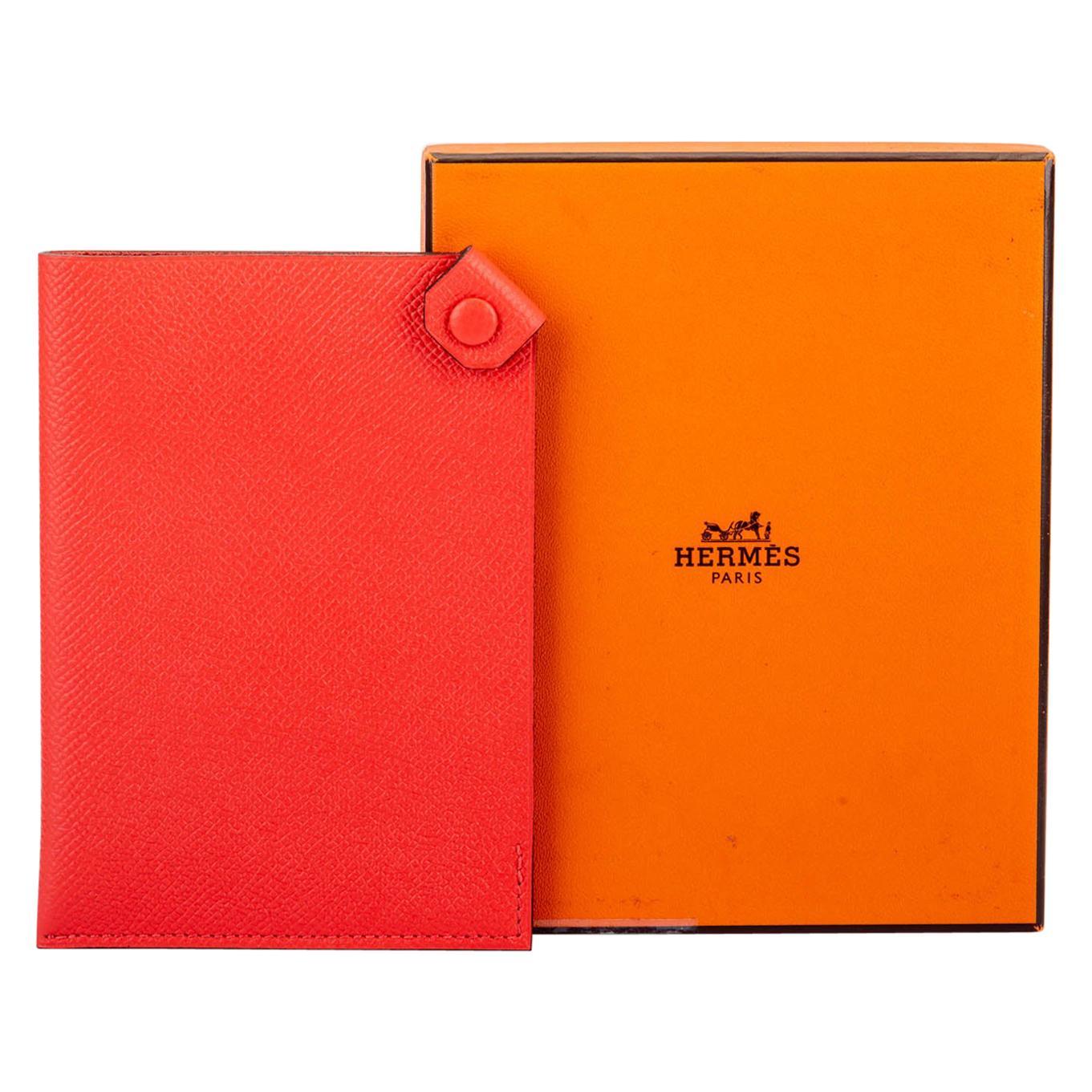 New in Box Hermes Rouge Pivoine Passport Cover