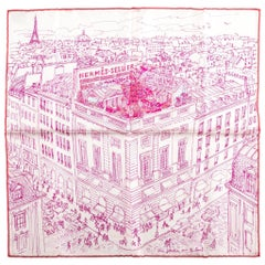 "New in Box Hermes Silk Gavroche Fuchsia ""Le Jardin"" Scarf"