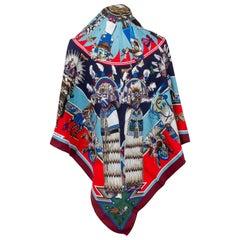 New in Box Hermès Silk Pointe Kachinas Shawl