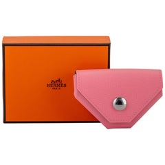 New in Box Hermes Verso Pink Greean Coin Case