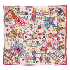 New in Box Hermès White Coral Silk Kachinas Scarf