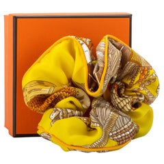 New in Box Hermes Yellow Silk Scrunchie Hair Band