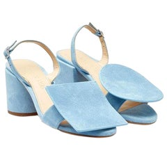 NEW in box Jacquemus 'Les Rond Carré' Sandals in Light Blue Suede EU37