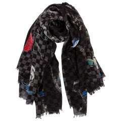 New in Box Louis Vuitton Atlas Silk Wool Black Shawl