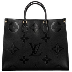 New in Box Louis Vuitton Black Logo On the Go GM Tote Bag