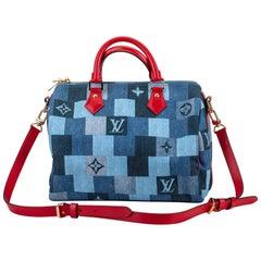 New in Box Louis Vuitton Denim Speedy 30 Bag