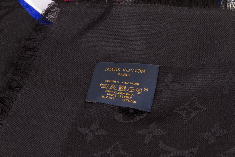 New in Box Louis Vuitton Letter Silk Wool Black Shawl Scarf For Sale 1