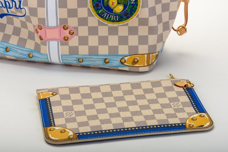 New in Box Louis Vuitton Limited Edition Capri Neverfull Damier Azur Bag For Sale 10