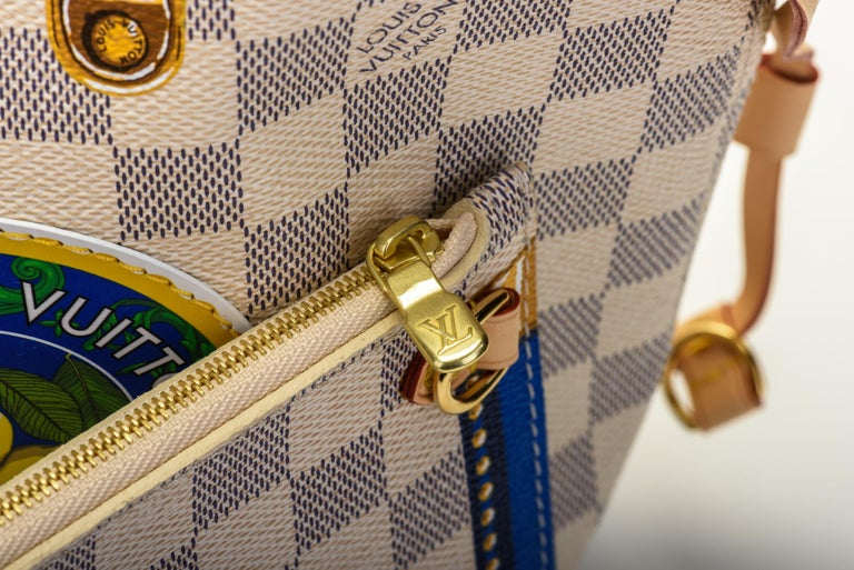 New in Box Louis Vuitton Limited Edition Capri Neverfull Damier Azur Bag For Sale 11