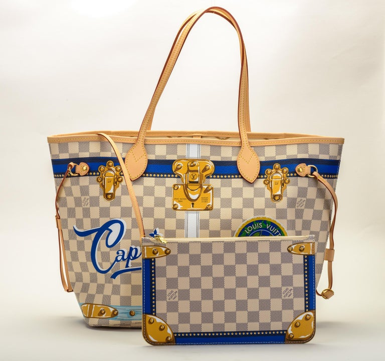 Brown New in Box Louis Vuitton Limited Edition Capri Neverfull Damier Azur Bag For Sale