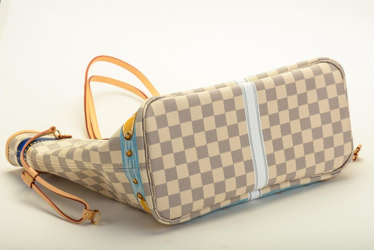 New in Box Louis Vuitton Limited Edition Capri Neverfull Damier Azur Bag In New Condition In West Hollywood, CA