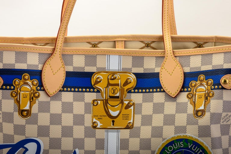 Women's New in Box Louis Vuitton Limited Edition Capri Neverfull Damier Azur Bag For Sale
