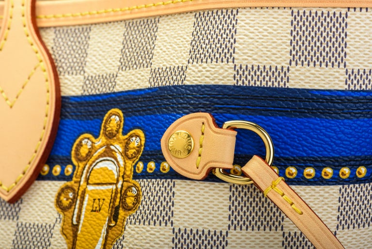 New in Box Louis Vuitton Limited Edition Capri Neverfull Damier Azur Bag For Sale 1