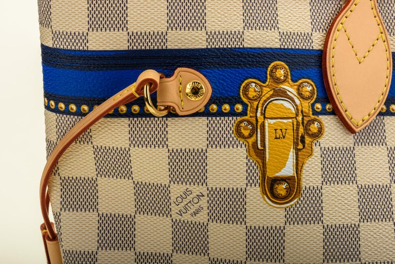 New in Box Louis Vuitton Limited Edition Capri Neverfull Damier Azur Bag For Sale 2