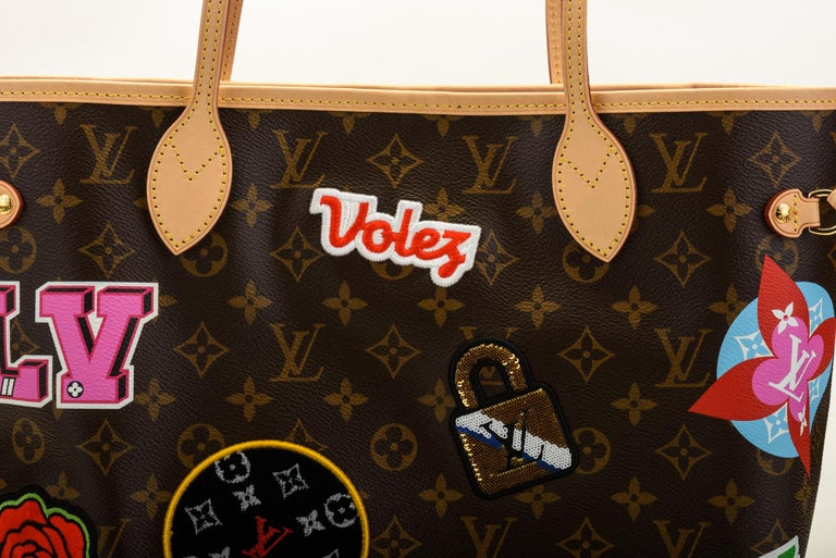ed90d8387464 Women s New in Box Louis Vuitton Limited Edition Stickers Neverfull Tote Bag  For Sale
